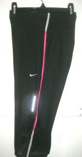 NIKE Womens Dri Fit Stay Warm, Reflective Running Capri Pants Black