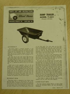1962 WHEEL HORSE TRACTOR 7 2211 DUMP TRAILER PARTS LIST MANUAL