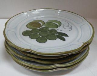 CALIFORNIA Los Angeles Pottery ART POTTERY PLATES set  5 grape plum