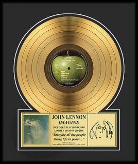john lennon imagine framed 24kt gold record