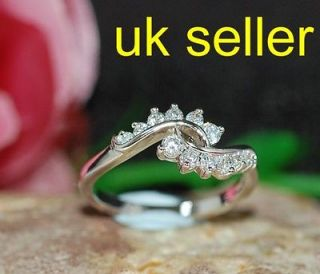 Newly listed created tiny diamond crossover White GP ring size N 7