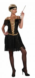 Golden Glamour Roaring 20s Flapper Black Dress Costume Adult XS/S