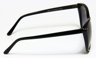 Vintage Designer Crystals Cat Eye Style Thin Black Frame Sunglasses