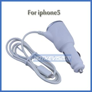 White Car Charger Adapter For Apple Iphone 5G Ipod Touch 5th
