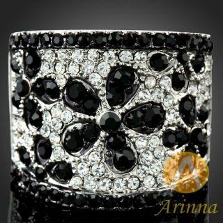 ARINNA Black Flower Alluring Fashion Ring 18K WGP Multi Swarovski