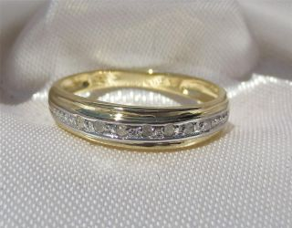 Wedding Eternity ring with 7 genuine DIAMONDS Solid 9ct gold Size 7 N