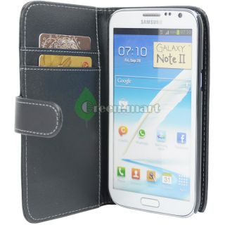 Black Wallet Pouch Leather Case Cover For. Samsung Galaxy Note 2 II