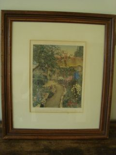 Vintage Wallace Nutting A Garden of Larkspur Colored Signed Print