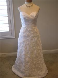 ABS Allen Schwartz Silk Destination Wedding Dress Bridal Gown Rosette