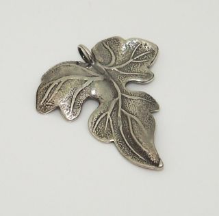 Sterling Silver 925 Large Cutout Etched Leaf Pendant A55