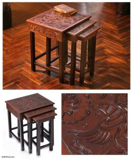 PARADISE 3 Wood & HAND TOOLED Leather End ACCENT Tables Novica ART