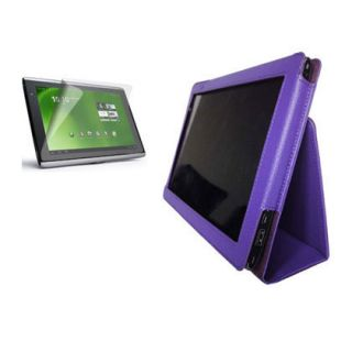 For Acer Iconia Tab A500 A501 Purple GENUINE LEATHER Case Cover Screen