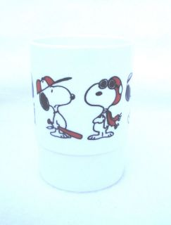 Vtg Peanuts Gang Snoopy Plastic Glass 6 Snoopy Characters Poses