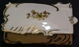 Vintage hand painted gold leaf decorated porcelain overnight ring