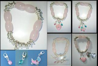 Grandmothers Add A Charm Silver Plate Link Rose Quartz Bracelet