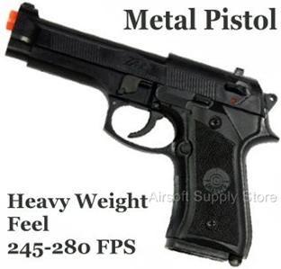 Brand New Large Metal Plastic Airsoft Pistol Gun 280 FPS Beretta M9