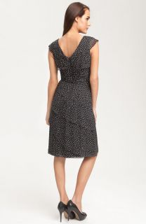 Adrianna Papell Polka Dot Chiffon Dress 8 $159 00
