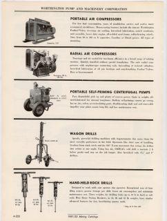 Worthington Portable Mine Pump Diesel Compressor 50s Ad
