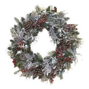 New 24 Christmas Snowy Red Berry Pinecone Winter Snow Wreath 1612570