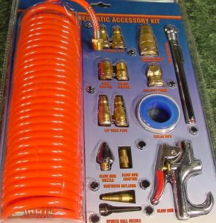 Coil Air Hose with Blow Gun and Air Tool Accessories NE