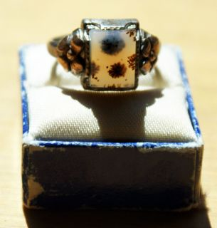 Antique Ostby Barton OB Landscape Moss Agate 10K Yellow Gold Ring