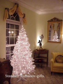 White Designer Alaska Christmas Tree 6 5 ft Pre Lit with Clear Lights