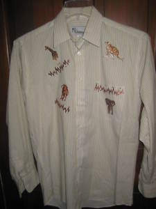 Mili Designs Blouse Brown African Animals Size Small on Sale