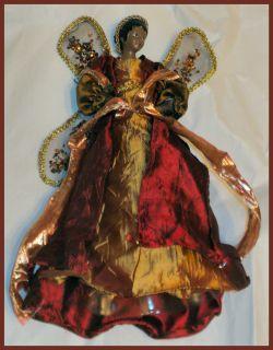 African American Christmas Tree Top Angel Dan Dee New 17 Wine Gold