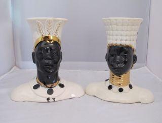 IMPRESSIVE PAIR OF VINTAGE BLACKAMOOR MALE FEMALE CERAMIC WHITE GOLD