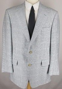 42R Brooks Brother Blue White Green Wool Plaid Sport Coat Jacket Suit