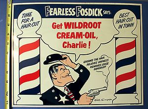 1940 1950s Fosdick Wildroot Barber Shop Sign Embossed Al Capp