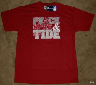 alabama crimson tide peace love tide crimson cotton t shirt size youth