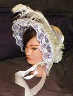 Cream Ivory Satin Sass Victorian Dress Bonnet Civil War Hat Costume