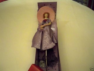 Alexandra Red Hat Lady Society Porcelain Doll w Stand