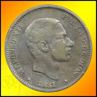 Philippines 50 Centimos de Peso 1881 Alfonso XII Silver Coin