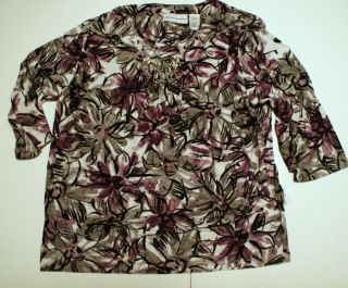 Alfred Dunner womens shirt Plus size 1X Purple Gray Flower abstract