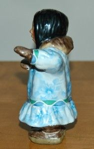 Eskimo Girl Figurine by C Alan Johnson Ruth 5 ¾ Tall 1983