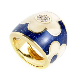 Alessandro Fanfani 18K Yellow Gold Blue Lacquer Diamond Flower Ring