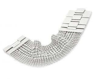 Justine Simmons Jewelry Clear Crystal Mesh Bracelet  Silvertone