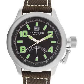 Akribos XXIV AK407GN Scouter Canteen Date Leather Strap Mens Watch