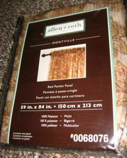 Allen Roth Montville Curtain Drapery Drape Rod Pocket Panel 59x84