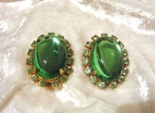 Vintage Rhinestone Jelly Belly Green Clip on Earrings
