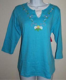 Allyson Whitmore Petite Womens Blue Shirt Top Size PM