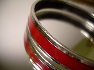 Hermes Caleche Bangle Bracelet Burgundy Red Enamel Silver Tone