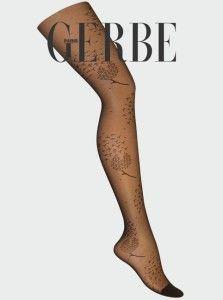 GERBE SHEER FASHION SOFT *BLACK* w Flower Pattern Collant Pantyhose