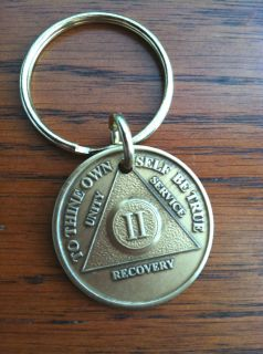 Alcoholics Anonymous AA 2 Year KEYCHAIN Brass Metal Chip Coin Token