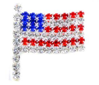CRYSTAL PATRIOTIC AMERICAN FLAG USA LAPEL PIN CLIP BROOCH BROACH SILVE