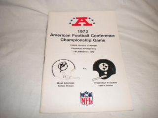 Vtg NFL Football Media Press Guide 1972 AFC Championship Pittsburgh vs