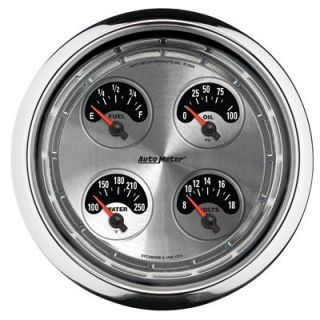 Gauge Kit American Muscle Silver Water Temp Fuel Level Volt Oil