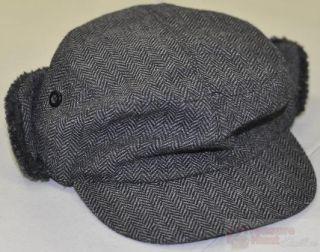 Amicale Black/Grey Pattern Muff Hat W/ Faux Fur Lining Sz S/M